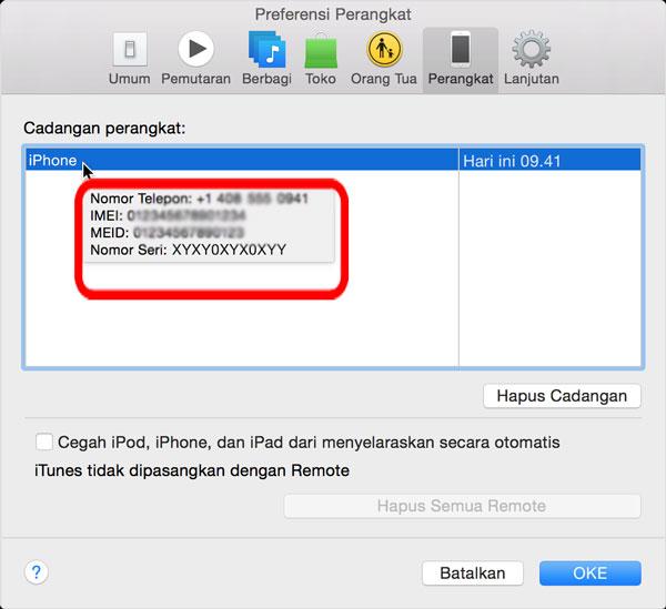 Imei iPhone di iTunes