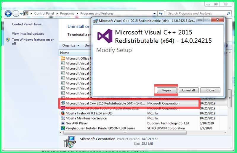 Repair Microsoft Visual C++
