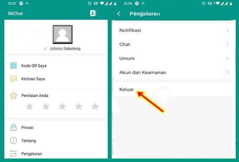 Log out dan Hapus Aplikasi