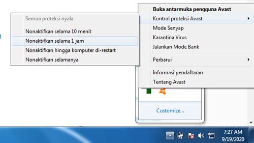 Nonaktifkan Avast melalui Toolbar