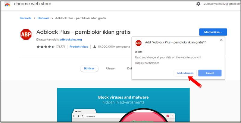 Add Extesion Adblock Plus