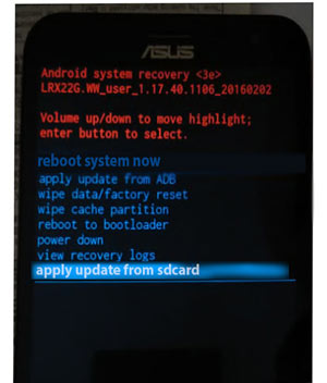 Apply Update From SDcard