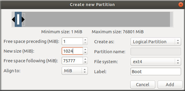Create Partition Boot