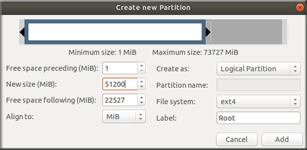 Create Partition Root