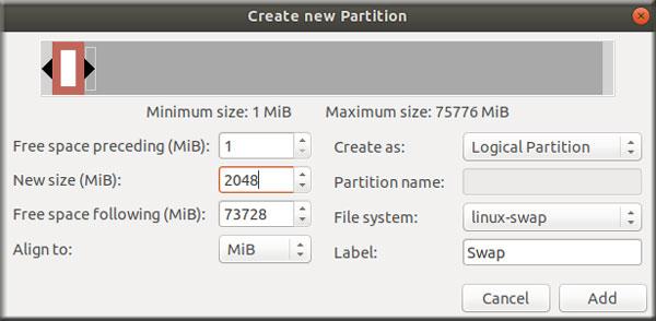 Create Partition Swap