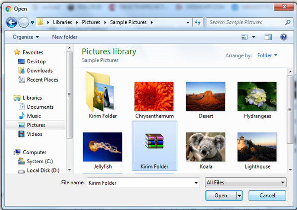 Pilih Folder RAR