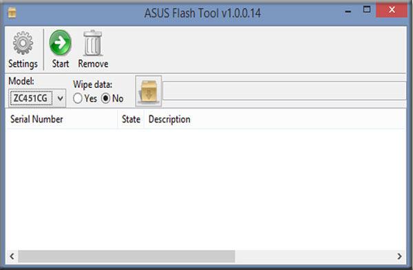 Pilih Model Flash Tool