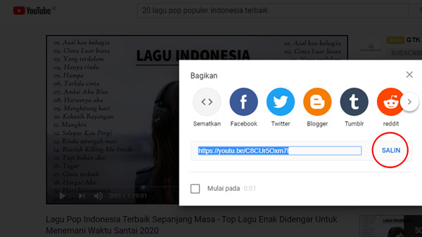 Salin URL dari Youtube