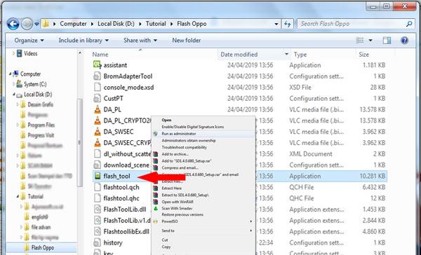 Run as administrator flash_tool