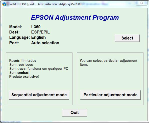 Epson Adjustment Mode