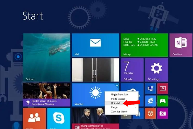 Menu Start Unistall Program Windows 8