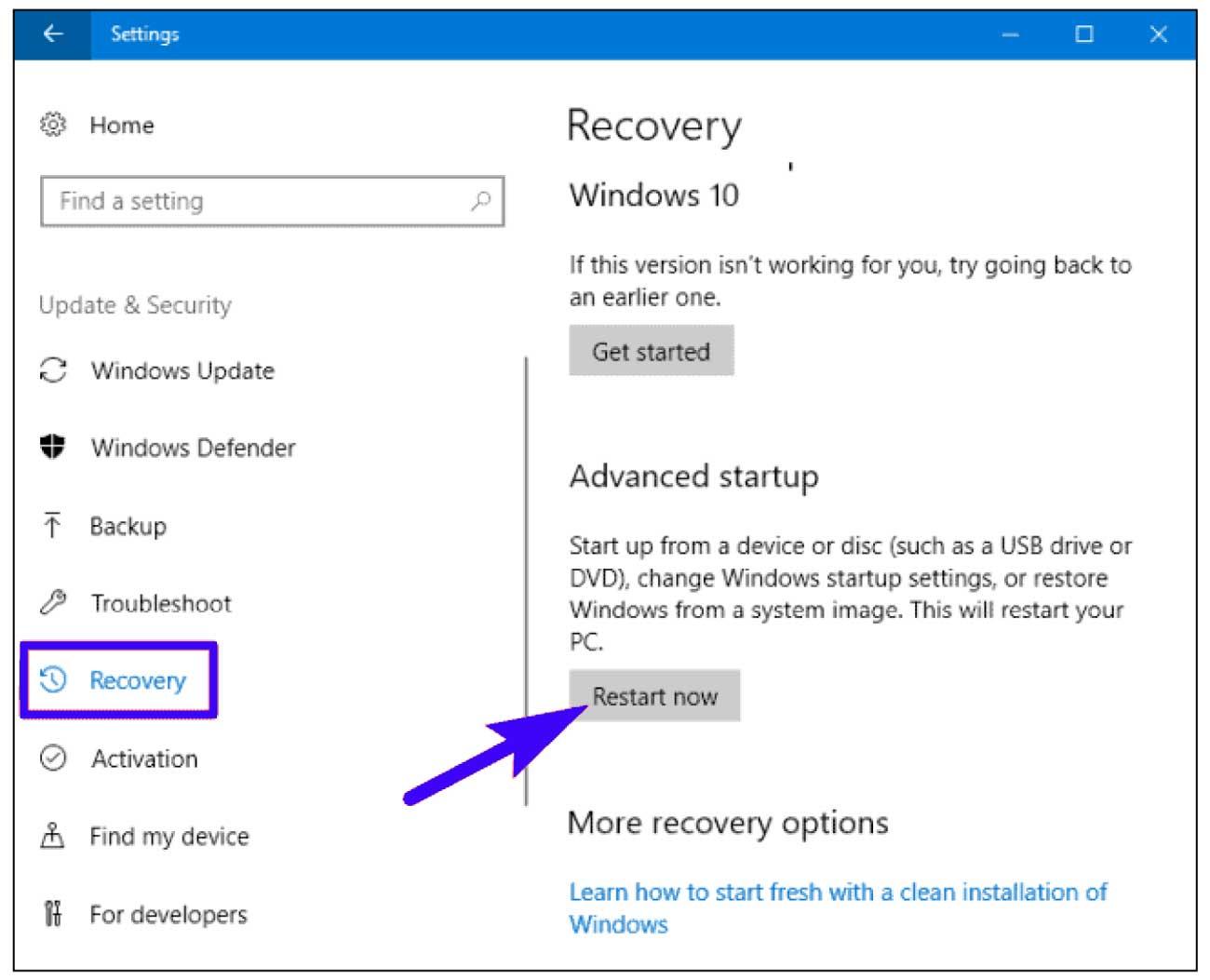 Recovery Windows 10