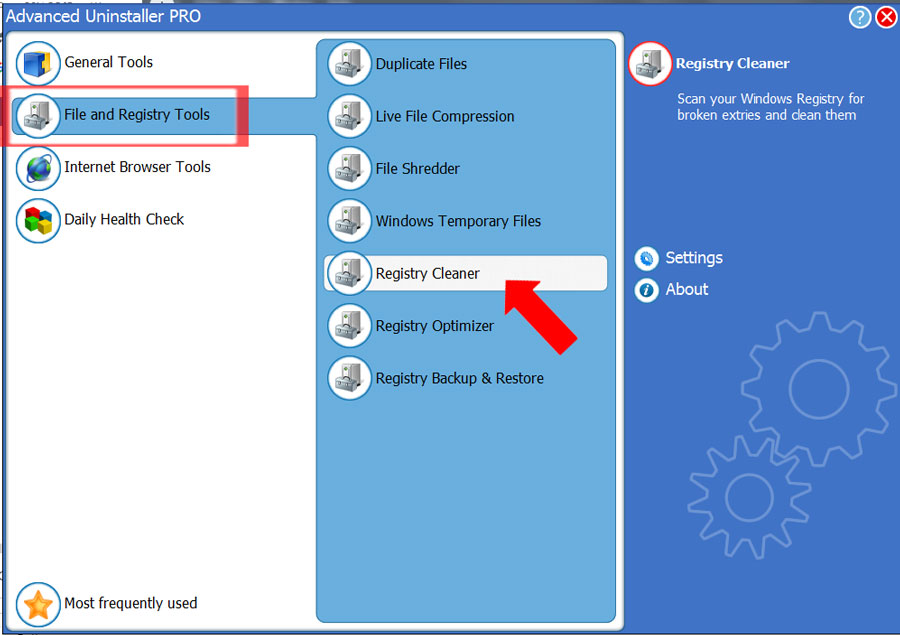 Registry Cleaner Advanced Uninstaller
