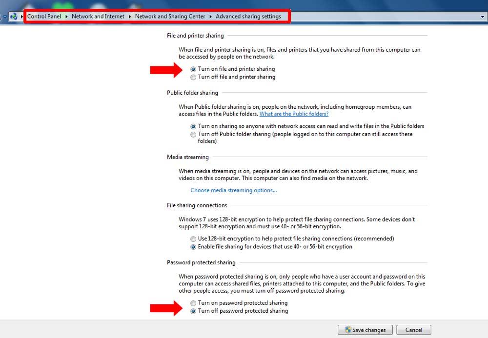 Aktifkan Settings File and Printer Sharing