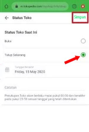 Status Tutup Tokopedia