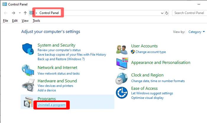 Uninstall a program Windows 10